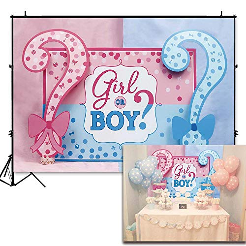 Funnytree 7x5ft Durable Fabric Question Mark Gender Reveal Backdrop No Wrinkles Girl or Boy Pink Blue Baby Shower Photography Background Gender Surprise Party Decoration Banner Photo Booth Props Boy Digital Photo Announcement