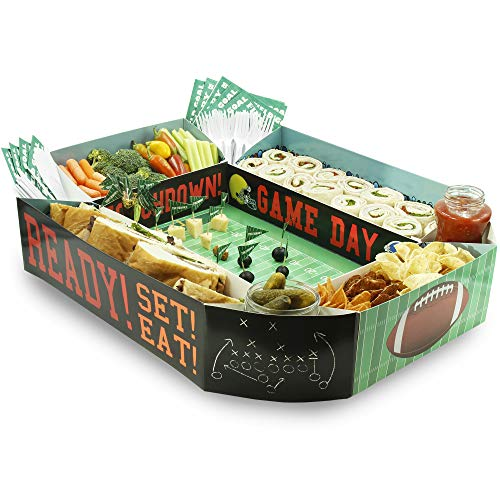 - Juvale Football Snack Stadium Party Tray for Appetizers, Dipping Bowls, 25 x 4.5 x 20.5 Inches