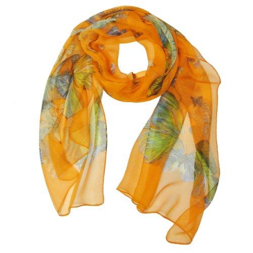 Wrapables-Butterfly-Pattern-Long-Scarf-Tangerine-Orange