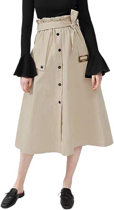 Sylar Faldas Mujer Midi Falda Larga Cintura Alta con Cinturón ...