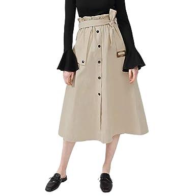 Vectry Verano Moda Mujer Falda Maxi Casual Cintura Alta Falda ...