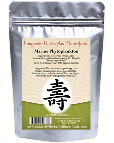 Marine Phytoplankton Powder Capsules Raw Omega 3 EPA Vegan ATP Energy Superfood (90 Vegan Capsules)