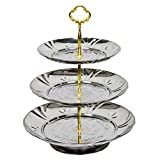 3 Tier Serving Tray Galvanized Metal Cupcake Stand EVXVE Retro Emboss Pattern Display for Cakes Desserts Fruits Candy Buffet Stand for Wedding Home Party Holiday Dinners (Sliver)