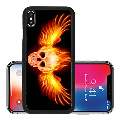 Liili Premium Apple iPhone X Aluminum Backplate Bumper Snap Case Flaming Skull with Fire Wings Illustration on black Photo 14887163]()