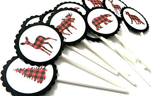 Animal Lumberjack Cupcake Toppers - Set of 12