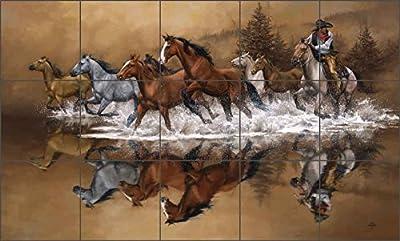 "Western Cowboy Ceramic Tile Mural Backsplash 30"" x 18"" - Stolen Horses by Jack Sorenson - Kitchen Shower Decor"