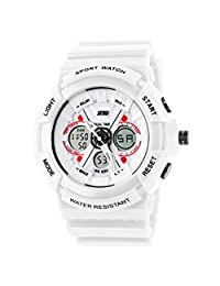 MonkeyJack Mens Boys Sports Watch Analog Digital Dual Time Date Day Multifunction Alarm Led Wristwatch White