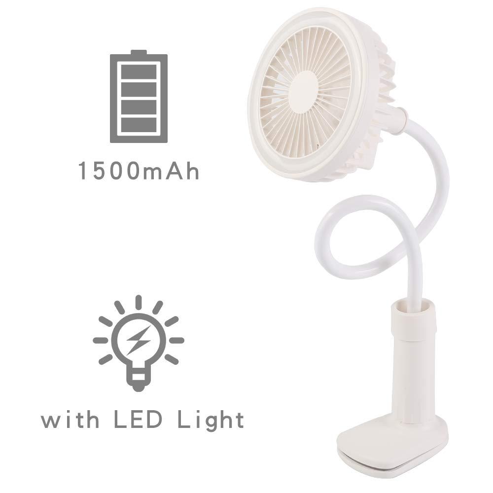 Stroller Clip on Fan:Desk USB LED Lamp Fan 2 Speeds/&Brightness Settings 1500mAh Use for Travel,Shopping,Beach,Flexible Bendable Office Portable USB Fan White