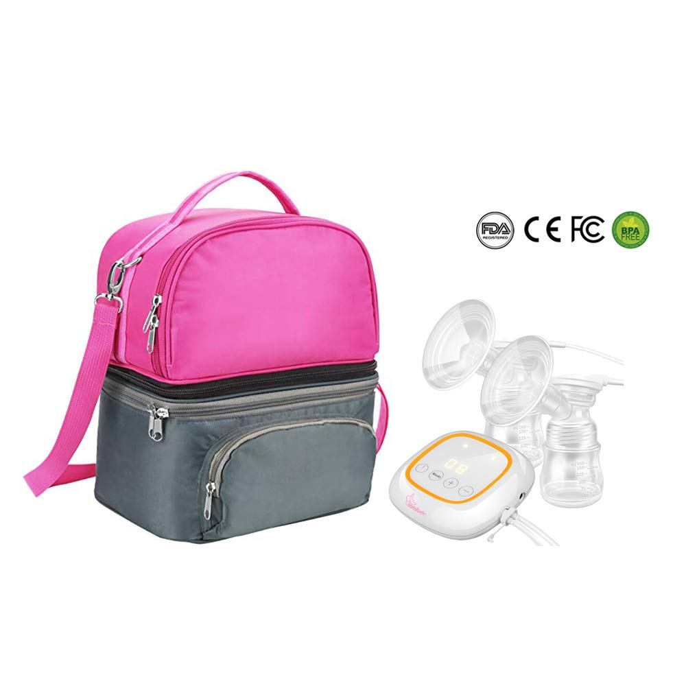 Breast Pump Kit with Double Electric Breast Pump and Diaper Bag, Portable Breastpump with 4 Comfortable Modes 16 Adjustable Suction Levels and Breast Pump Bag for Breastfeeding Storage