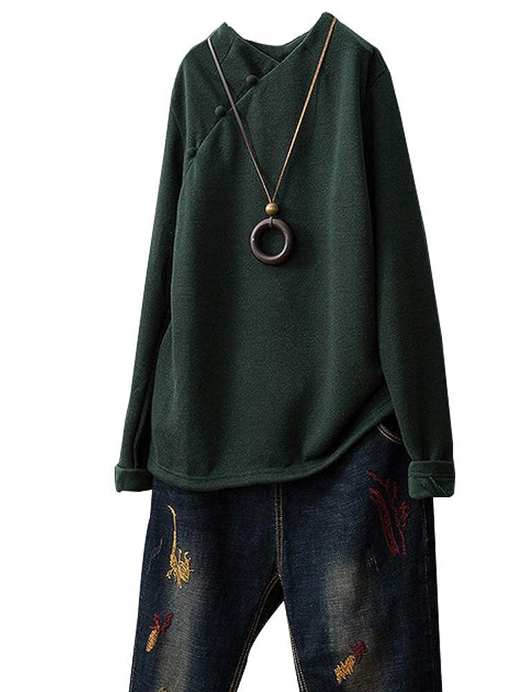 Dark Green Minibee Women's Cotton Shirts Solid color Long Sleeve Tunic Tops