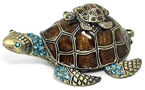 Waltz&F Turtle Trinket Jewelry Box with Sparkling Light Green Crystals,Hinged Trinket Box Hand-painted Figurine Collectible Ring - Turtle Hinged Trinket Box