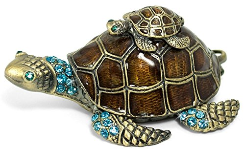 Waltz&F Turtle Trinket Jewelry Box with Sparkling Light Green Crystals,Hinged Trinket Box Hand-painted Figurine Collectible Ring (Baby Sea Turtle Box)