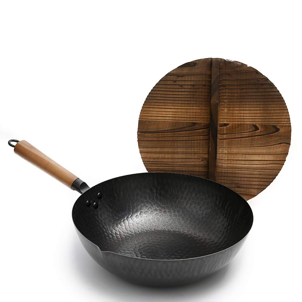 DUDDP Kitchen Traditional Hand Hammered Iron Wok with Wooden,Pre-Seasoned Cast Iron Wok Pan with Chinese fir lid (12.6 Inch, Round Bottom),Black
