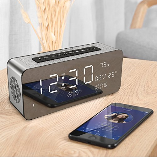 Orionstar Wireless Bluetooth Alarm Clock Radio Speaker with HD Sound & Big Digital Screen Showing Time/Date, Compatible with iPhone/Android/PC4/Aux/MicroSD/TF/USB, for Bedroom Office, Model A10 Silver by Orionstar (Image #6)
