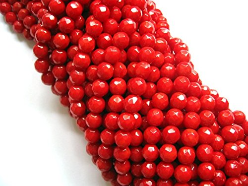 jennysun2010 Natural Red Coral Gemstone 3mm Faceted Round Loose Beads Length 15.5'' Inches (38.5cm) 1 Strand per Bag for Bracelet Necklace Earrings Jewelry Making Crafts Design Healing