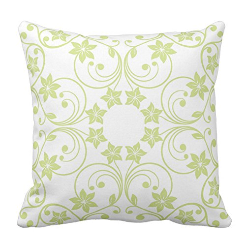 Floral Design Light Green and White Flower Pattern Home Decor Square Throw Pillowcase Cushion Cover Pillow Vintage, 20X20 Inch (Design Outdoor Furniture Toronto)