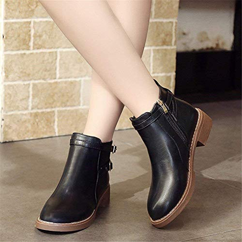 38 Eu Round Women' Buckles Shoes Boots S Donna Heels 's Deed Short Zippers Casual wOA7nYT