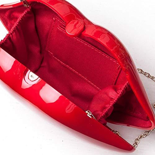 Rojo Novia Las Fiesta Partido Bolso Clutch La Vestido Embrague De Mujeres Style Boda Bag Del Gr Noche Envelope Labios Danza qZ81pSZHw