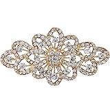 EVER FAITH 4 Inch Bridal Gold-Tone Flower Ribbon Brooch Clear Austrian Crystal