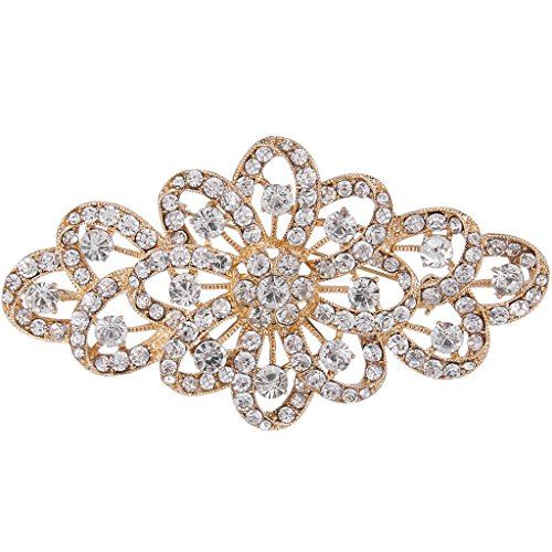 (EVER FAITH 4 Inch Bridal Gold-Tone Flower Ribbon Brooch Clear Austrian Crystal)