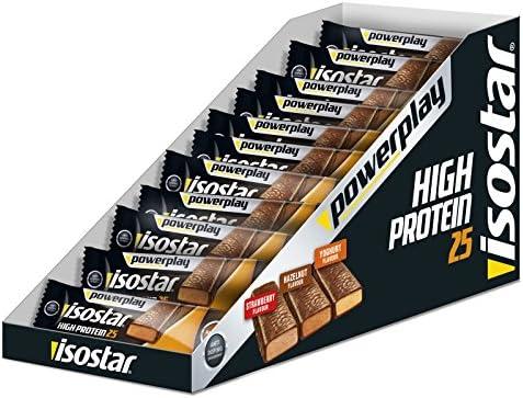 Isostar High Protein Strawberry 25 – 30 x 35 g Proteinriegel Box (1.050 g) – 25 Prozent Protein pro Energieriegel...