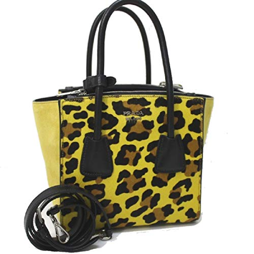 Prada Leopard Pattern Neon Yellow Suede and Pony Hair Cross body Hand Bag 1BA025