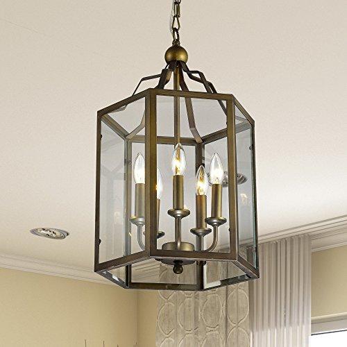 Jojospring Bronze Hexagon Lantern Hanging Chandelier with Clear Glass