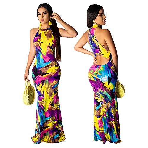 Dress Silk Halter Neck (BUBUWING Women's Sleeveless Halter Neck Maxi Dress Vintage Floral Print Beach Long Dress (Red/Purple, M))