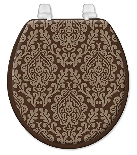 """Standard Toilet Seat 17"""" Soft Padded Chocolate and Taupe ..."""