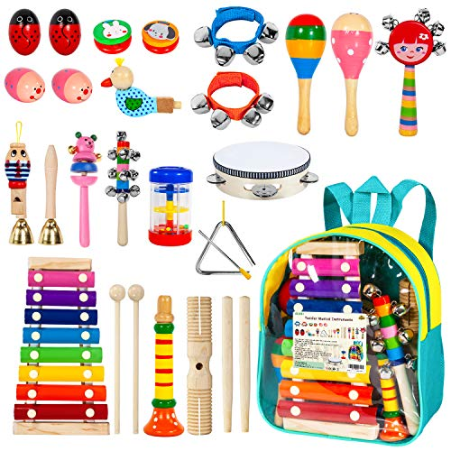 AILUKI Toddler Musical Instruments,24PCS 17 Types Wooden Percussion Instruments Tambourine Xylophone for Kids Preschool Education,Early Learning Musical Toy for Boys and Girls with Storage Backpack by AILUKI (Image #6)