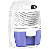 Hysure Portable Mini Dehumidifier Air Purifier 2200 Cubic Feet Electric Safe Dehumidifier for Bedroom Home Crawl Space Bathroo RV Baby Room White