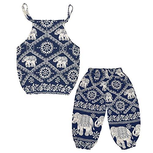 Baby Girls Boho Elephant Tops Harem Pants 2 Piece Outfits Dark Blue 120
