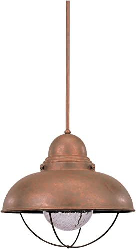 Sea Gull Lighting 6658-44 Sebring One-Light Outdoor Pendant Hanging Modern Light Fixture, Weathered Copper Finish