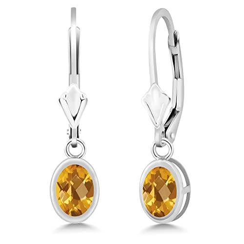 Gem Stone King 1.40 Ct Oval Checkerboard Yellow Citrine 925 Sterling Silver Dangle Earrings