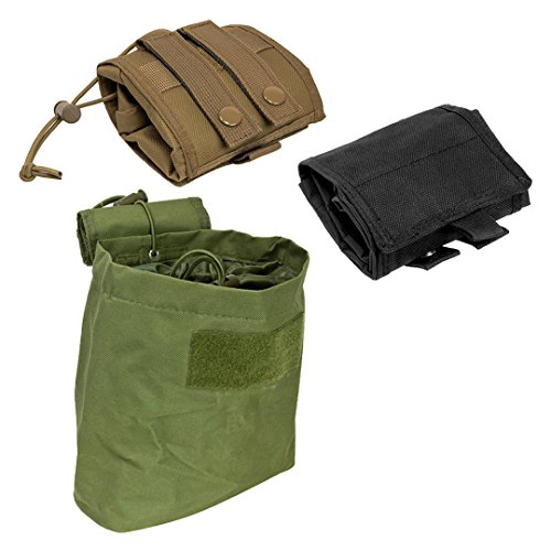 ATG Tactical Compact Roll-Up Pouch Folding Dump Pouch Magazines Elastic Draw Cord MOLLE PALS Shooting Gear 7.5