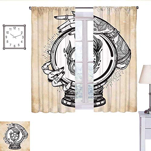 alisoso Occult Country Curtain Illustration of Medium Crystal Ball for Mystery with Tattooed Hands Future Psychic soundproof Curtain Tan Black W63 x L45 (Best Psychic Pokemon Crystal)