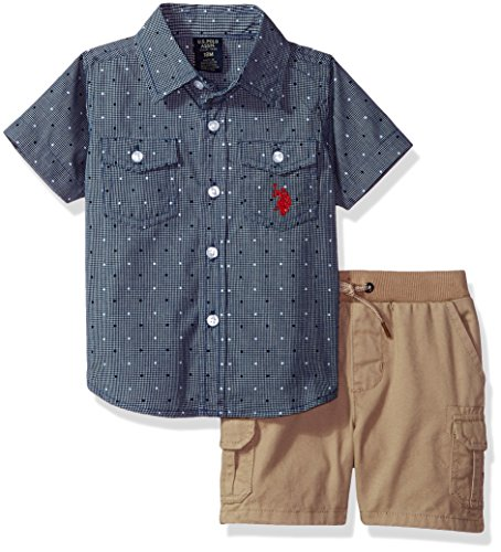 U.S. Polo Assn.. Baby Boys Sport Shirt and Short Set, Lines Dots Khaki Multi Plaid, 12M by U.S. Polo Assn.