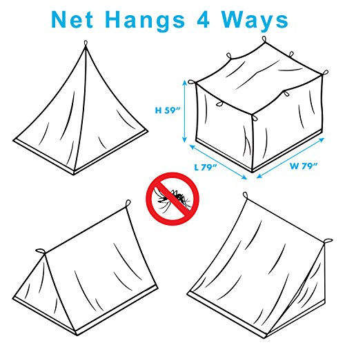Premium Mosquito Net for Double Bed, crib, hammock or camping by Alpine Grand, Full hanging kit with extra-long strings and 8 hooks, Free Carry Bag