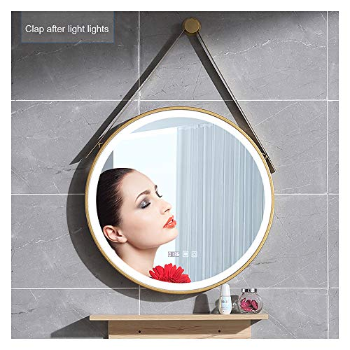 Smart Touch Led Light Bathroom Mirror, Wall-Mounted Round Mirror, Golden Frame Washstand -