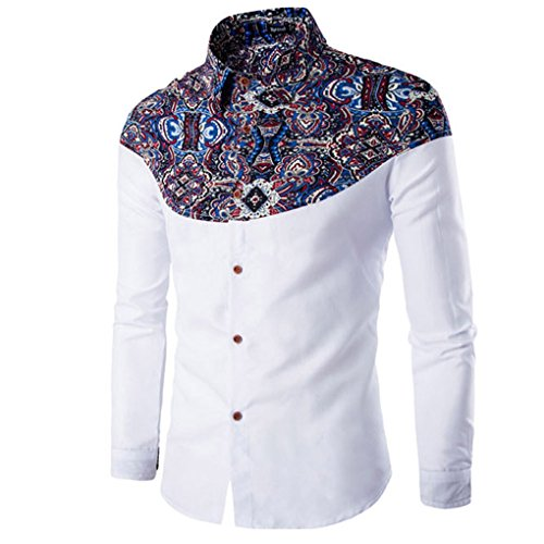 haoricu Mens Shirt, Autumn Winter Elegant Men Fashion Printing Long Sleeved T-Shirt for Work (XL, White)