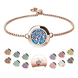 Aromatherapy Essential Oil Diffuser Bracelet – ttstar Rose Gold Stainless Steel Adjustable Women Jewelry Diffuser Bracelet with 24 Refill Pads Gift Se