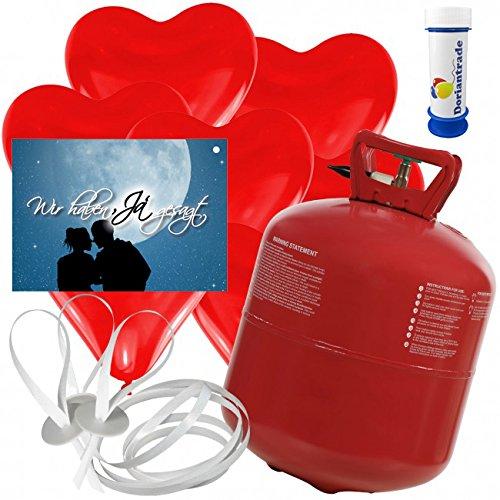 50 Herz Luftballons freie Farbwahl mit Helium Ballon Gas + 50 Weitflugkarten Wir haben Ja gesagt + Gratis Doriantrade Seifenblasen 60 ml Hochzeit Valentinstag Komplettset (Rot)