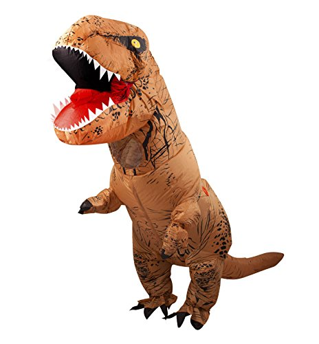 JF Deco Valentine Couple T-Rex Costume Halloween Adult Inflatable Dinosaur Party Funny Dress With USB Wire