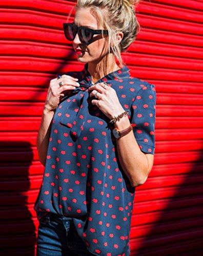 Vogue Mousseline Blouse Femme Lvre Imprim de Imixcity Bouton bleu Rouge Chemise Lvres Rouge Grande Taille Tw5dIYq