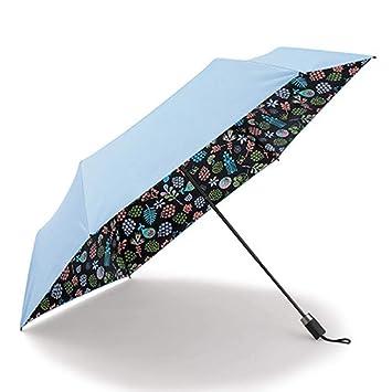 PZXY Paraguas Plegable Negro plástico Protector Fibra de Carbono luz UV protección Parasol sombrilla 53 cm