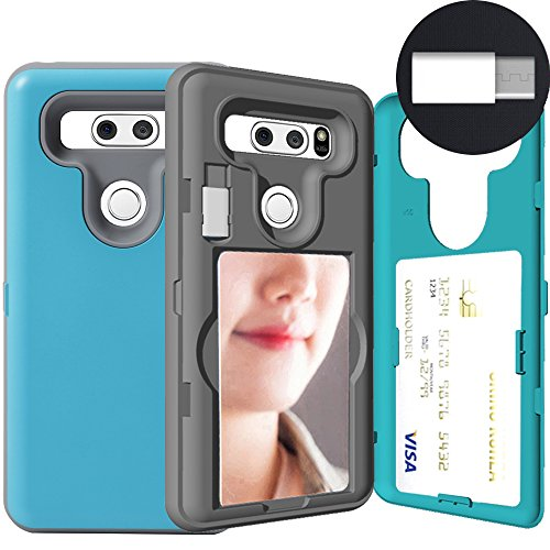 LG V30 Case,LG V35 ThinQ, SKINU [LG V30 Wallet Case] Hidden Credit [LG V30 Card case] Holder ID Slot Card Case with Inner USB type C Adapter and Mirror for LG V30/V30 Plus/V30S/LG V30S ThinQ - Emerald