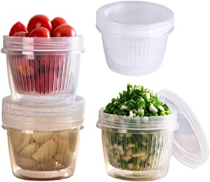 JNN Food Storage Container, 4-Pack Plastic Portable Freezer Storage Containers with Removable Drain Plate and Lid, Stackable - Tray to Keep Fruits, Vegetables, Meat