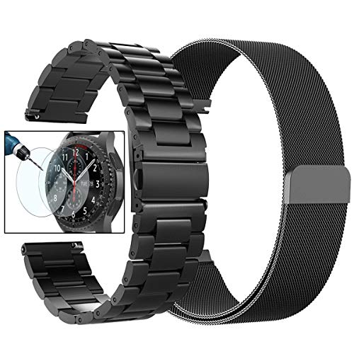 Gear S3 Frontier/Classic Watch Bands, Valkit 22mm Stainless Steel Band, Milanese Loop Mesh Replacement Metal Strap +Screen Protector for Samsung Gear S3 Frontier/Classic Smart Watch/Galaxy Watch 46mm