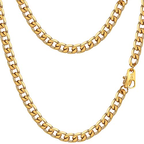 - PROSTEEL Miami Cuban Link Necklace 18K Gold Plated Hiphop Summer Jewelry Hip Hop Chain Men Women Long Curb Chain Layered Layering Necklace