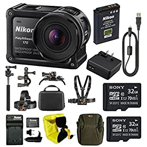 Nikon Keymission 170 Wi-Fi 4K Action Camera with 64GB Kit and Adventure Bundle